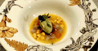 Mario Sandoval: Gazpachuelo de maíz picante con quisquilla,helado de aguacate y anguila ahumada