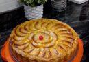Tarta de manzana hojaldre y crema pastelera.
